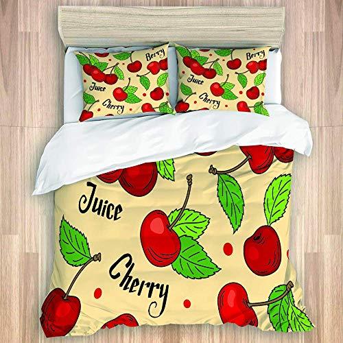 jonycm beddengoed dekbedovertrek set patroon rode kersen groene bladeren beige achtergrond woorden kersen bessen sap gekleurd ziekenhuis 3-delig beddengoed set gezellige decoratieve Hostel beddengoed