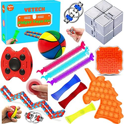 Yetech Set De Juguetes Sensoriales,15PCS Juego de Juguetes sensoriales antiestres,Push Pop Bubble Sensory Toy,Juguetes contra el estrés y la ansiedad para niños y Adultos, TDAH