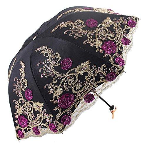 Honeystore Sun Protection Vintage Lace Parasol Decorative Umbrellas for Wedding BM1820 Black