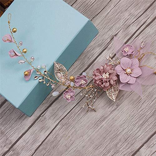 Coiffe de mariée dorée et violette - Pour mariée - Cheveux longs - Ornements de cheveux faits à la main - Décoration de cheveux de mariage
