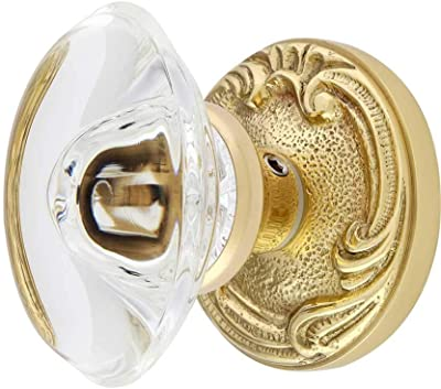 """Clear White Crystal Octagon 24/% Lead Knob Pull Handle Polished Brass 1/"""""""