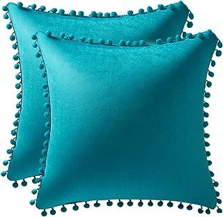 DEZENE Throw Pillow Cases 20×20 Turquoise: 2 Pack Cozy Soft Pom-poms Velvet Square..