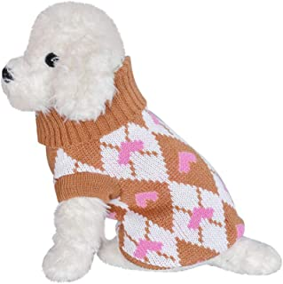 GorNorriss Pet Dog Cat Winter Warm Turtleneck Heart Print Sweater Costume Apparel, Puppy Dog Pullover Sweater Knitwear Pet Sweater for Fall Winter