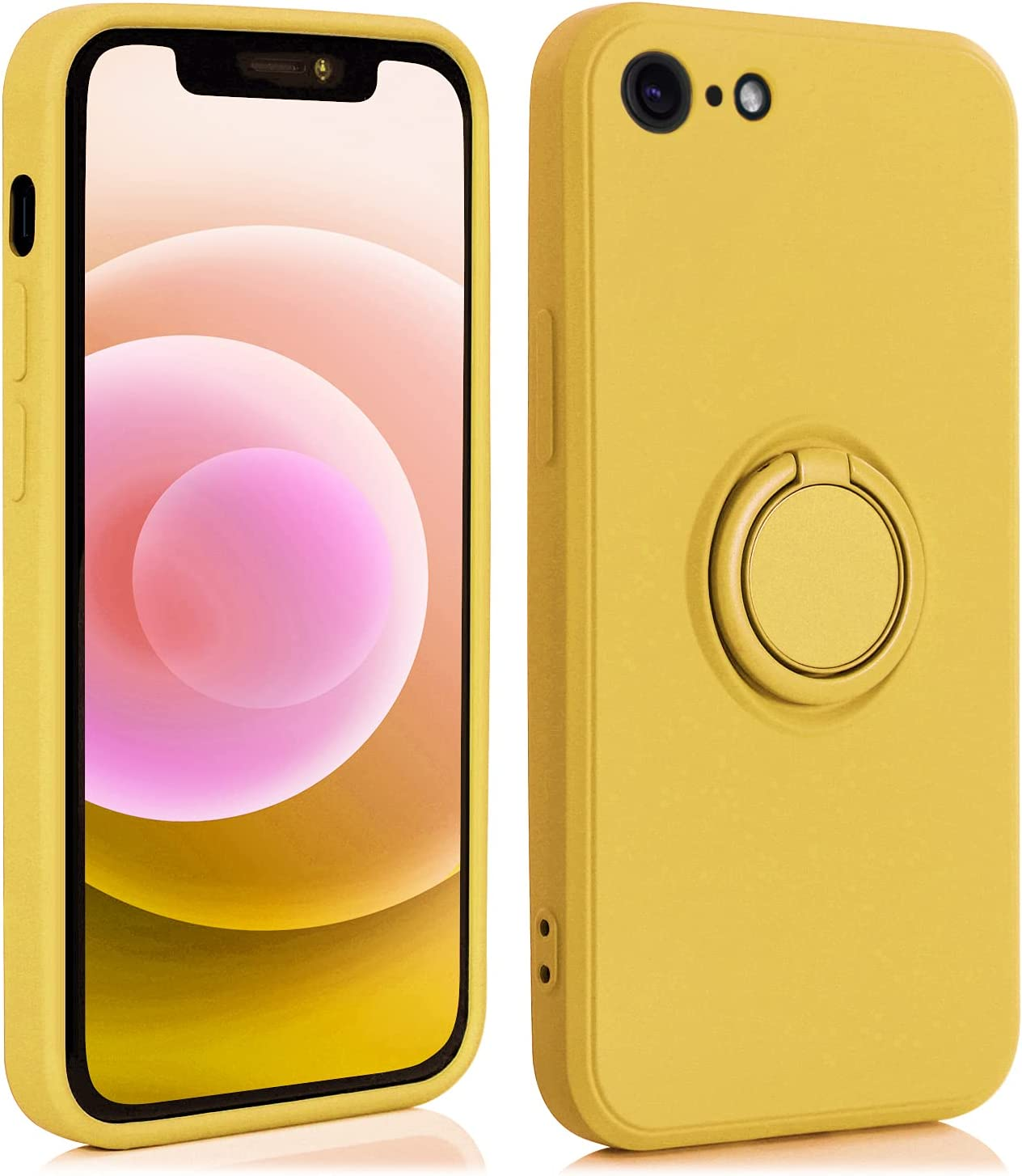AslabCrew iPhone SE 2020 Case with 360°Ring Holder Kickstand, Shockproof Bumper Soft TPU Protective Smartphone Cover, Yellow