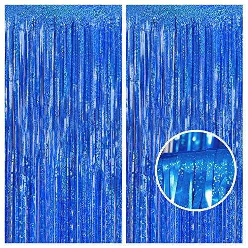 Melsan 2 Pack 3.2 ft x 8.2 ft Tinsel Foil Fringe Curtains Backdrop, Sparkle Metallic Tinsel Foil Curtains for Party Photo Booth Props Decoration, Navy