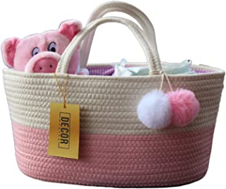 Decor Mantra Baby Diaper Caddy Organizer Basket -Rope Nursery Storage - Large Tote Bag & Car Organizer with Removable Inserts - Baby Shower Gift Basket - Newborn Registry Must Haves