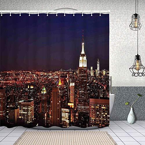 Starodec Cortina de Ducha Impermeable Nueva York en la Noche Empire Building en el noreste de la Ciudad más concurrida de EE.UU.Foto Cortinas baño con Ganchos Lavable a Máquina 72x72 Inch