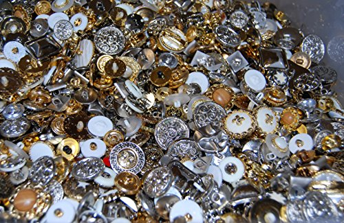 Shiny Mix - Gemischte Größen Gold- und Silber-Knöpfe zu Nähen und Basteln, multi
