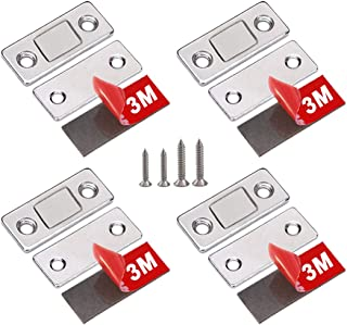 WOOCH Drawer Magnet Catch 4 Pack Ultra Thin Cabinet Door Magnetic Catch Stainless Steel Magnetic Latch Hardware for Sliding Door Window Kitchen Cupboard Closure Closet Door Closer-Sliver