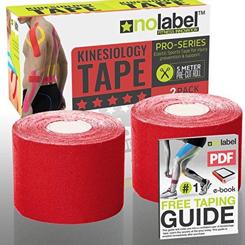 No Label Cinta Kinesiología PreCortada Rojo  Kinesiology Tape  Pre Cortada  KinesioTape Pre Cortada  Cinta kinesiológica  2 x Rojo