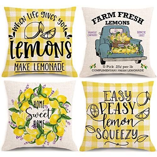 Summer Lemon Pillow Covers 18x18 Inches Set of 4 Farmhouse Lemon Lavender Throw Pillowcase Decorations Buffalo Check Plaid Decorative Cushion Case for Spring Summer Home Decor