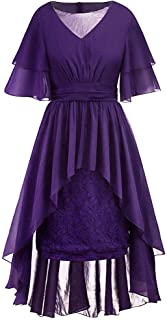 Womens Plus Size Vintage Party Dress L-5XL,Short Sleeve V-Neck Lace Pleated Hight Low Cocktail Swing Formal Dresses