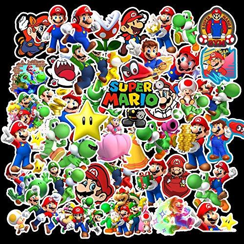 Juego 17 pegatinas 17 Uds, Pegatinas dibujos animados Super Mario, juguetes niños, pegatinas juego, decoración calcomanías ordenador portátil, monopatín, maleta, calcomanías