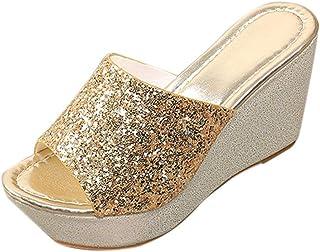 8c770750e7c91f Limsea 2018 Women Flip Flop Shoes Fashion Sexy Bling Wedges High Heel  Slip-On