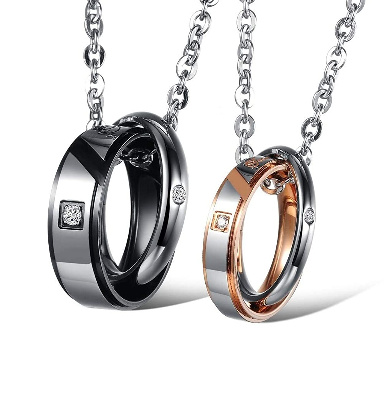 SunnyHouse His & Hers Matching Set Couple Titanium Stainless Steel Pendant Necklace Simple Love in a Gift Box (A Set)