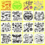 12 Pieces Bee Stencils Honeycomb Drawing Stencils Honey Flower Pattern Reusable Crafts Template for Painting on Wood, Wall, Fabric, Window, Signs, Home Decor, Pillows, DIY Art Scrapbook Projects