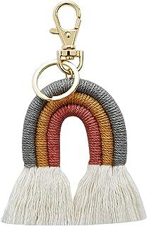 Bhuuno Weaving Rainbow Keychains Tassel Macrame Key Holder Keyring Bag Charm - Grey, 12x6cm