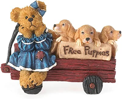 Boyds Resin from Enesco Free Puppies in Wagon Figurine 3.25 in