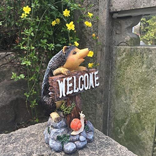 Yowinlo Statuen Dekoartikel Skulpturen Figuren Harz Tier Igel Willkommenskarte Willkommen Garten Garten Garten Shop Kleine Dekoration Requisiten Ornamente