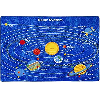 Kids Rug Solar System Children's Area Rug - Non Skid Gel Backing