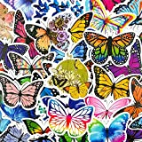 BBKB Pegatinas de Mariposa Coloridas para portátil, monopatín, Equipaje, refrigerador, Casco, Juguete, Pegatinas de Dibujos Animados, 50 unids/Set