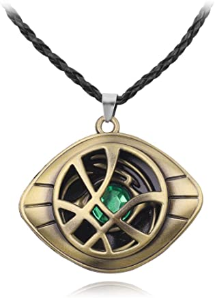 Avengers: Endgame Doctor Strange Eye of Agamotto Pendant Necklace Leather Rope, Stainless Steel Fluorescent Stone Necklace