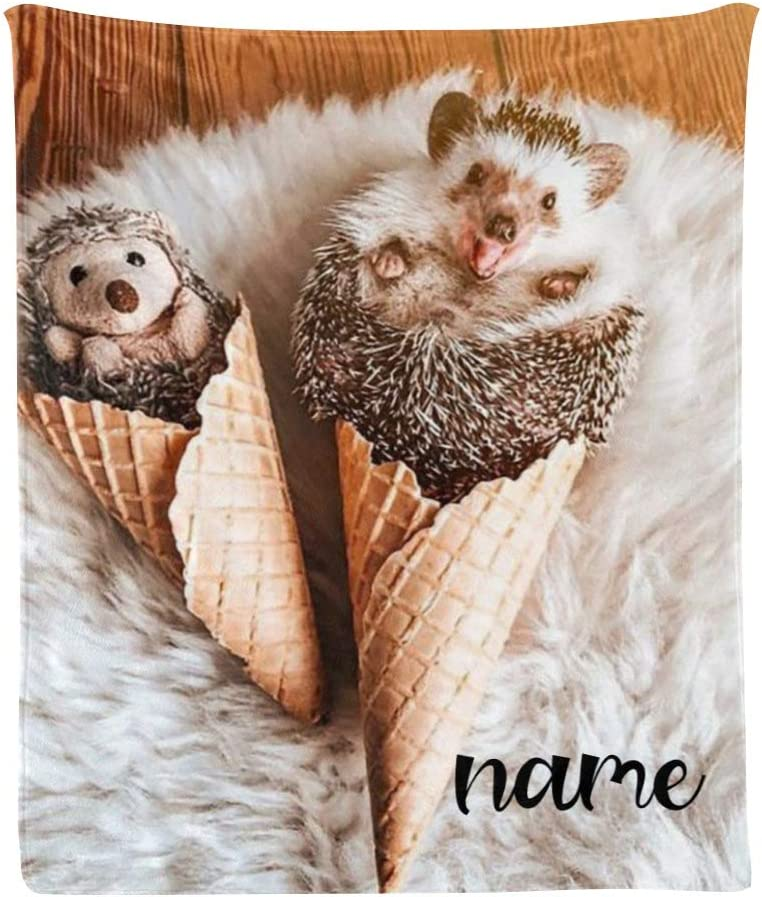 Custom Blanket 新作続 with Name Text Hedgehog Sweet 即納最大半額 Personalized Animal
