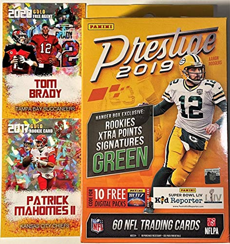 2019 Panini PRESTIGE Factory Sealed Football Hanger Box with 60 NFL Cards - PLUS Patrick Mahomes and TOM BRADY Custom Football Cards! 62 Total Cards.