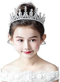 RKY Ragazze Corona, Bambini Fascia Crystal Crown Copricapo Principessa Girl Corona Corona Argento Capolino Bambini Sfera d...
