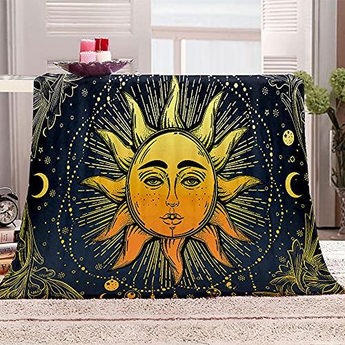 Sol Manta de Tiro Impresa Dorado 3D Manta para niños Adultos Mantas de Lana con Franela Ligera Manta para sofá de Cama y Viaje 100x130cm