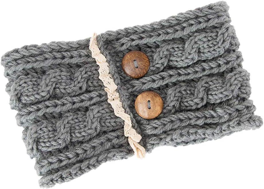 BCDshop Women Knit Cable Headband Crochet Twist Wide Headwrap Ear Warmer Button Design Hairband Headwear