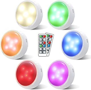 Puck Lights with Remote, OxyLED Wireless Color Changing LED Cabinet Lights with Timing, Battery Powered Tap Lights, Dimmab...