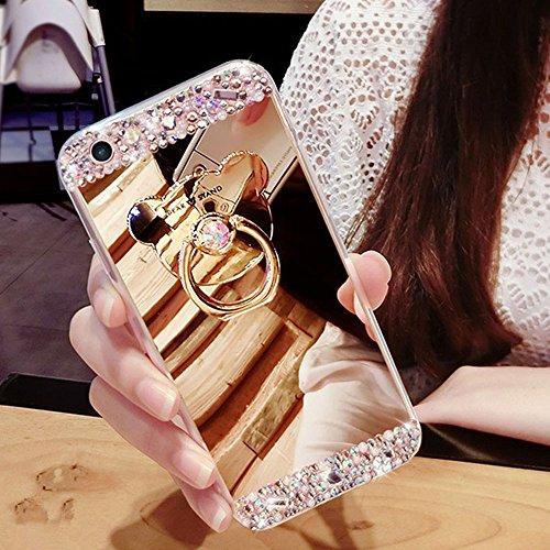 COTDINFOR Galaxy S6 Edge Funda de Espejo Lindo para niñas Case de Cristal Brillante Bling Diamond Glitter TPU Protectora con Soporte de Anillo para Samsung Galaxy S6 Edge Bear Ring Mirror Gold.