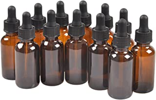 12 Pack,2oz 2 oz,Amber Glass Bottle Bottles with Black cap and Glass Droppers.Using for Essential Oils,Lab Chemicals,Colognes,Perfumes & Other Liquids.FREE 12 Chalk Labels