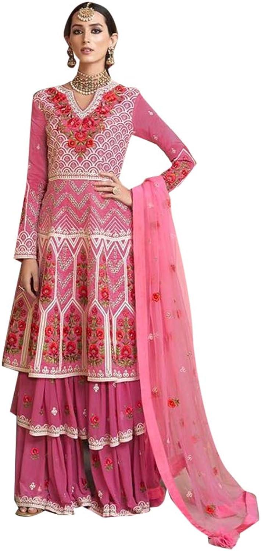 Ethnic Festive wear Layered Pure Viscose Upada Garara Sharara Suit Semistitched Muslim Women Bespoke 7797
