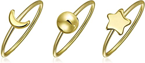 Tiny Stackable Celestial Sun Moon Star Knuckle Midi Ring Set 1MM For Women For Teen 14K Gold Plated 925 Sterling Silver