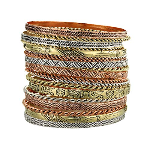 Ensoul Flower Mixed Metal Aztec African Indian Vintage Bangle&Bracelets for Women Set of 19/2.68' Dia Multi Color