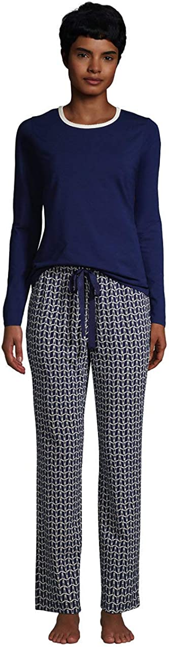 Lands' End Women's Knit Pajama Set Pants and 大放出セール 永遠の定番モデル T-Shirt Sleeve Long
