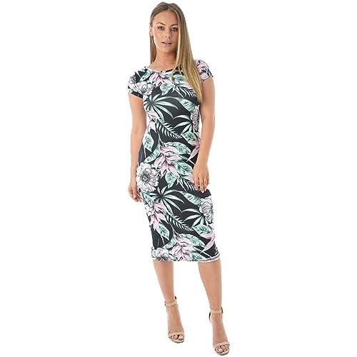 e7fad312272 janisramone Womens Ladies New Tropical Floral Leaf Printed Cap Sleeve  Stretch Fit Bodycon Summer Midi Dress