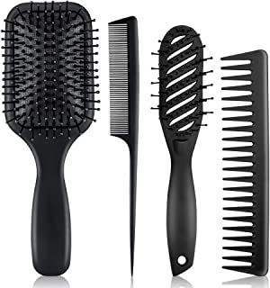 (Black) - Kirosy 4Pcs Paddle Hair Brush, Detangling Brush and Hair Comb Set for Men and Women, Great On Wet or Dry Hair, N...