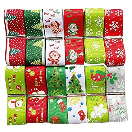Chenkou Craft 12Yards Merry Christmas Polyester Grosgrain Ribbon 1'(25mm) Snowflake Claus Beer X'Mas Hat Sock (1'(25mm) Christmas Ribbon)