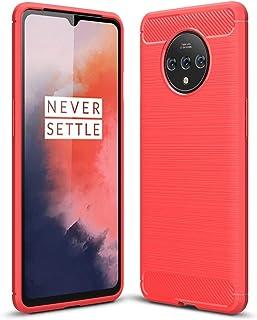 電話ケース OnePlus 7Tケースカーボンファイバーテクスチャ耐衝撃衝撃遮音耐震携帯電話保護ケースの保護ケース (Color : Red)