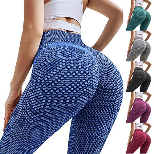 LIEIKIC Leggings Scrunch Butt Honeycomb para mujer, pantalones de yoga, para levantamiento de peso, push-up, pantalones de deporte, elásticos, de secado rápido azul XL