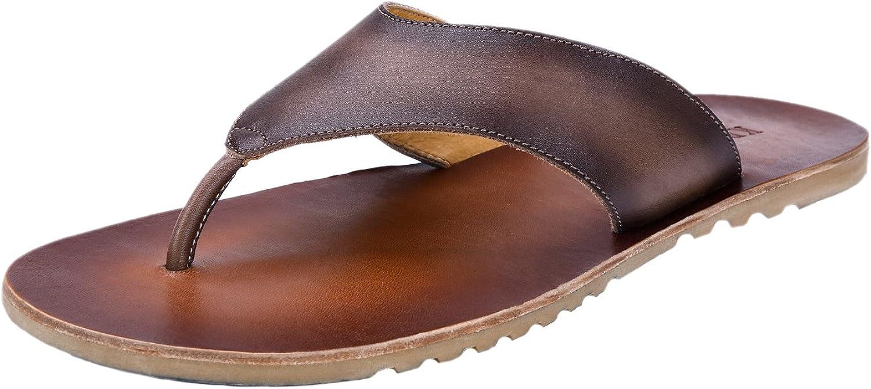 Tortor 1bacha Men's Retro Leather Slippers Flip-Flops