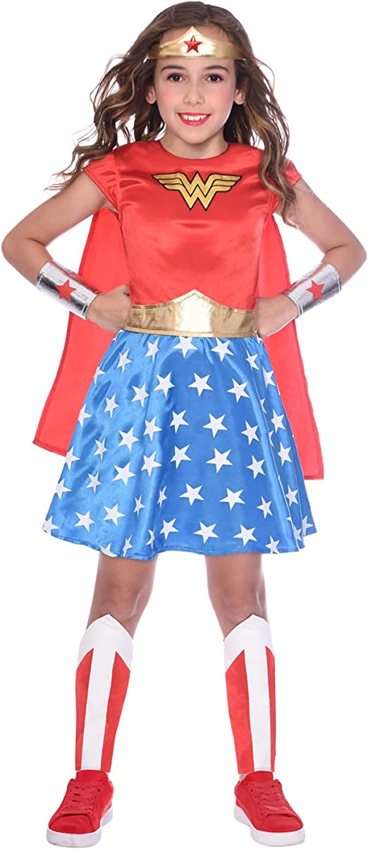Amscan 9906200eu Costume De Super Heros Wonder Woman Pour Enfant 3 4 1 Piece Amazon Fr Vetements Et Accessoires