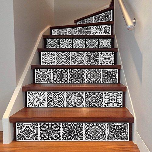 Uphome 6 PCS Floral Tile Self-Adhesive Stair Stickers Removable Tile Decals - Stair Riser backsplash for Living Room, Hall, Kids Room Decor (Floral Tile)