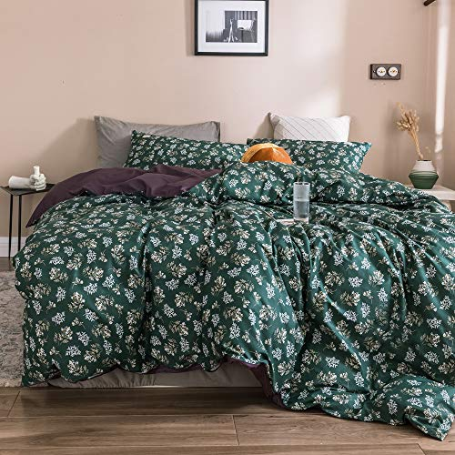 MICBRIDAL Green Floral Duvet Cover Queen Soft Comfy 100% Cotton Garden Floral Bedding Set with 2 Pillowcases Chic Botanical Floral Comforter Cover with Zipper Closure 4 Corner Ties