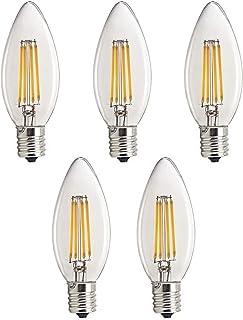 「5個入」 Acidea シャンデリア用 LED フィラメント電球 E17口金 4W 電球色 2700K 400lm C35 クリアタイプ 100V AC 調光器非対応 PSE マーク