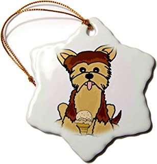 3dRose Funny Cute Yorkshire Terrier Dog Eating Ice Cream - Ornaments (ORN_294520_1)