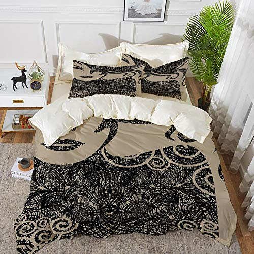 bedding - Duvet Cover Set ,Modern Decor,Woman with Cool Posing Wavy Sexy Hot Hair and Vamp Makeup Image Print,Tan ,Hypoallergenic Microfibre Duvet Cover Set 200 x 200cm with 2 Pillowcase 50 X 80cm